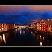 A beautiful evening on Nidelva river in Trondheim, Norway.