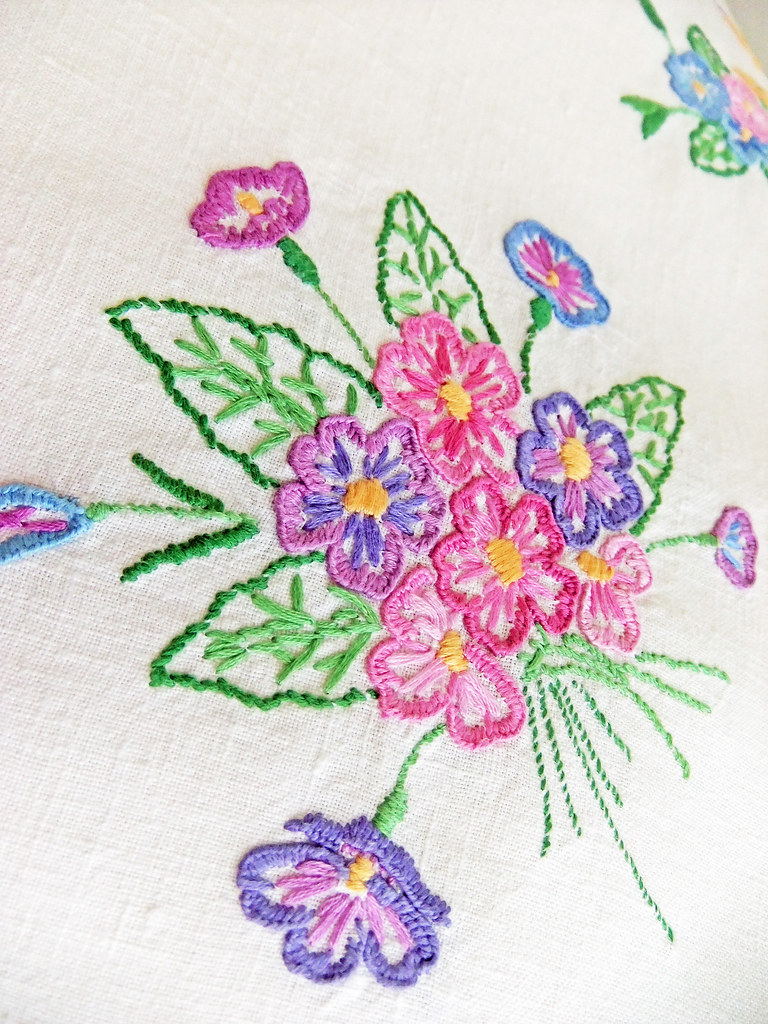 Vintage hand embroidered tablecloth peonyandthistle flickr