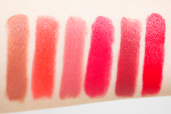 NYX Mars, Femme, Tea Rose, Spell Bound, Doll & Fire swatches