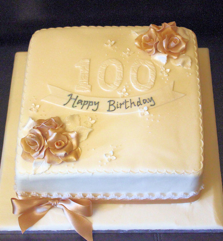 100th Birthday Cake Gold Roses Traditional 100th Birthday Flickr