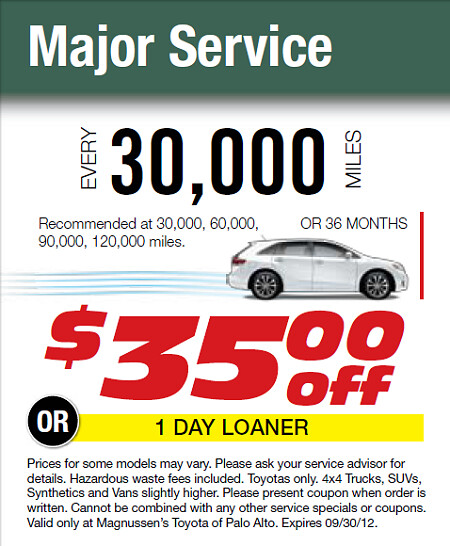 ... 30k Miles Toyota Maintenance Service   35 Dollars Off   This September  2012 At Toyota Service