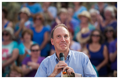 Southwark MP Simon Hughes introducing the choirs at the Scoop. | by Alan Habbick Photography.