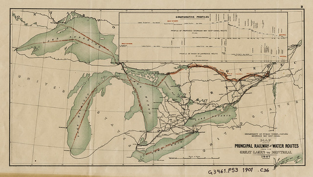 Georgian Bay ship canal: Map showing principal railway and water