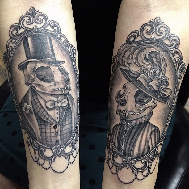 Tattoo of the day: Victorian cat husband and wife. #nofilt ...