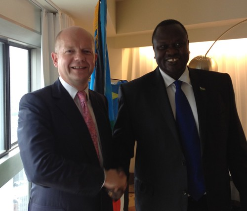 Foreign Secretary William Hague & Vice President of SouthSudan Riek Machar at the UN General Assembly | by UKUnitedNations