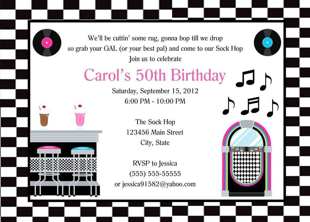 50 S Birthday Party Invitation I Have Many More Color