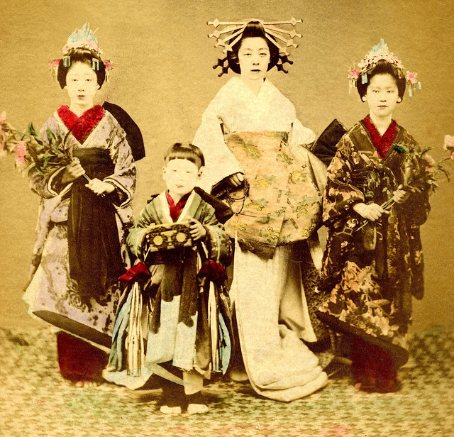 A Tayuu with two Shinzo and a Kamuro 1880s