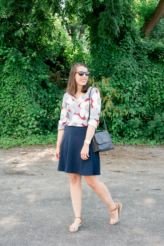 floral print blouse + navy flare skirt + mini wedge Target sandals; casual summer work outfit | Style On Target blog