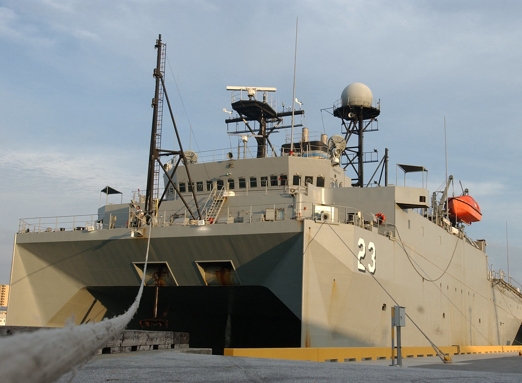 USNS Impeccable (T-AGOS 23)   USNS Impeccable seen moored ...