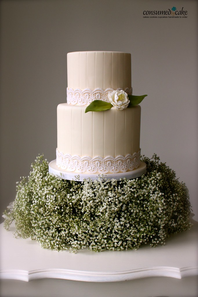 Baby S Breath Wedding Cake Pinstripes Vintage Lace And