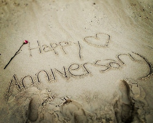 Happy Anniversary | writing in the sand is not as easy as ...
