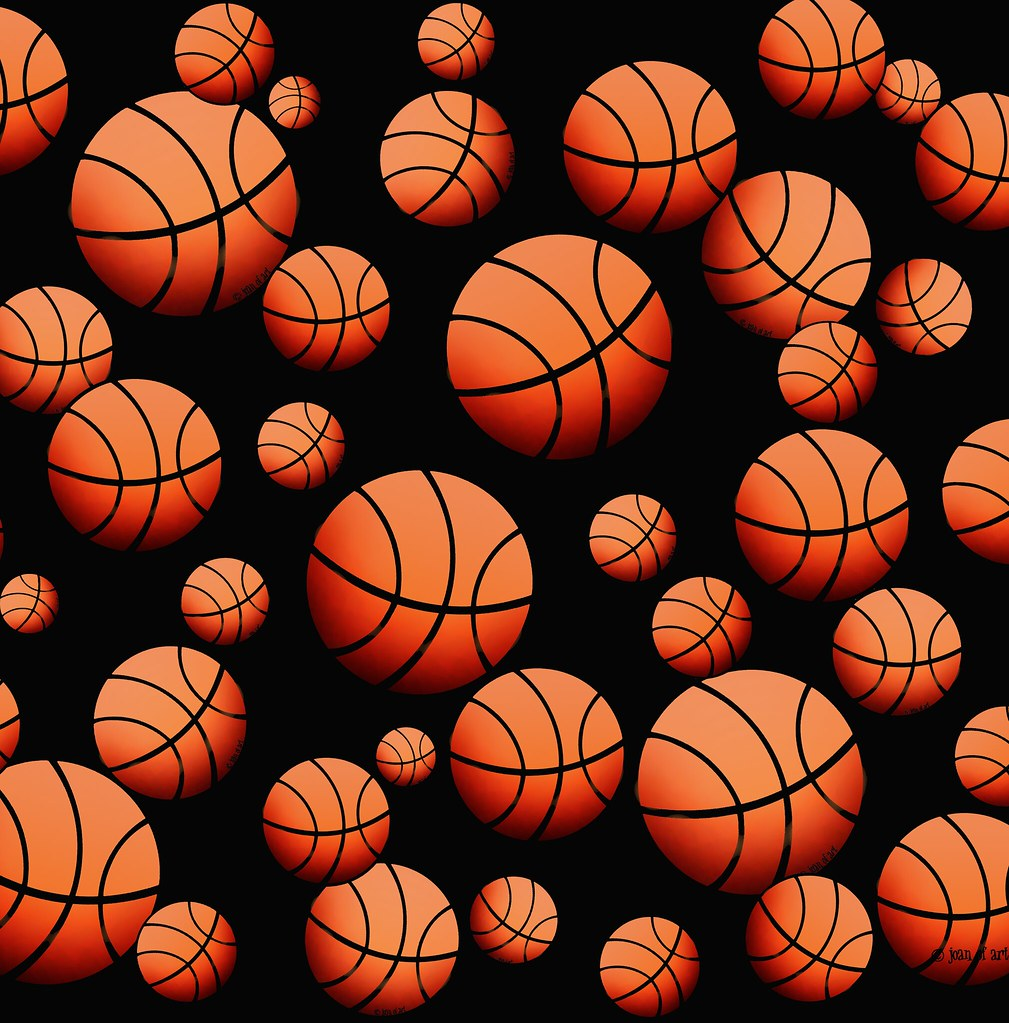 Basketball pattern - black background | Products available ...