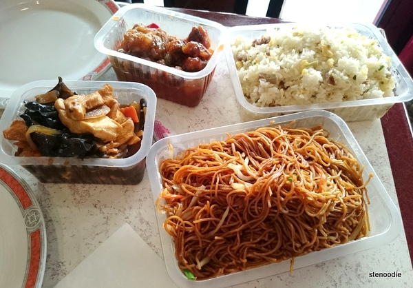 Sweet and Sour Pork, Noodles with Vegetables, Fried Rice with Roast Pork