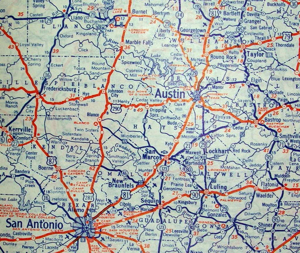 Road Map Of Central Texas