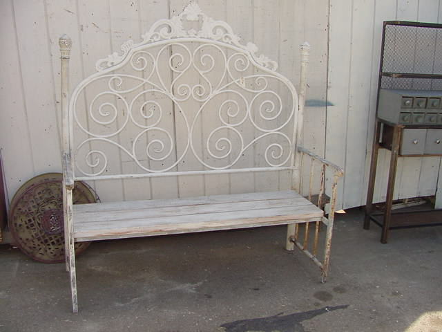 Bench Made With Vintage Iron Headboard 200 Vintage Iron