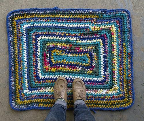 Teal Rainbow Rectangle Rag Rug