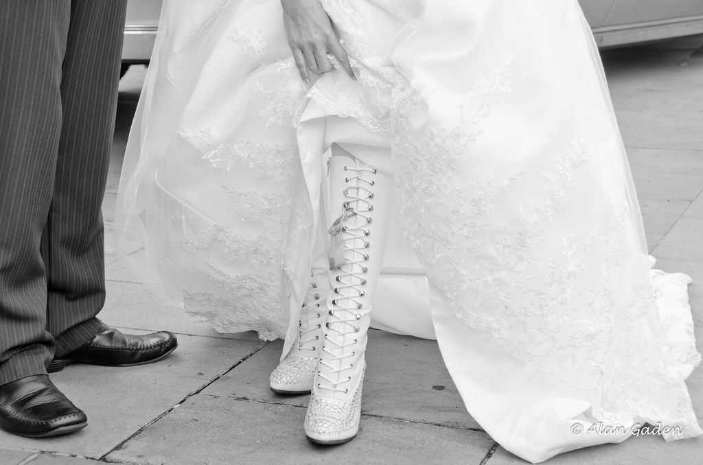 White wedding dress white boots best viewed on black for Wedding dress with boots