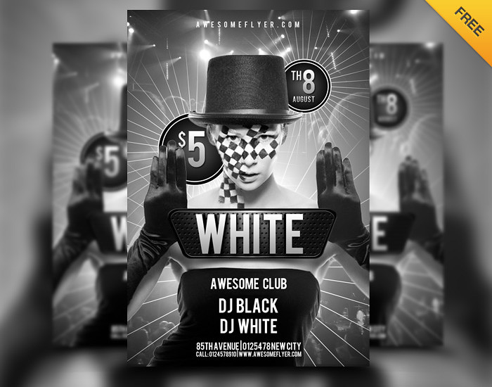 free black and white party club flyer psd template flickr. Black Bedroom Furniture Sets. Home Design Ideas