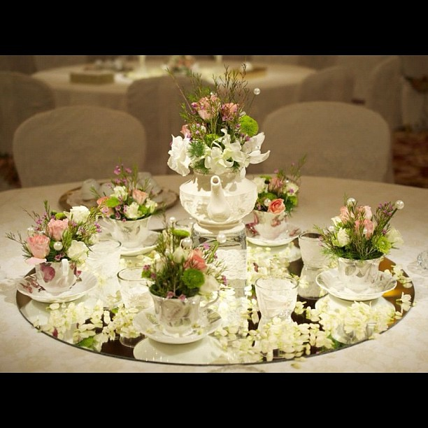 Flowers Flowerarrangement French Teacup Teapot Weddi