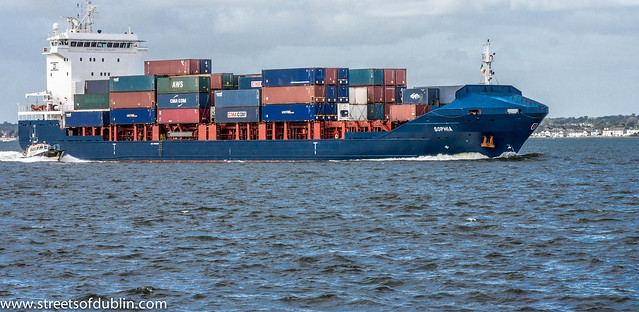 Container Ship Sophia (IMO 9433456) Sailing From Dublin Port