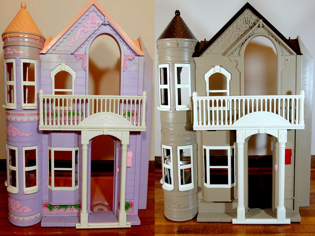 Before and after barbie dollhouse this was a lot of fun for Remodel my house for free