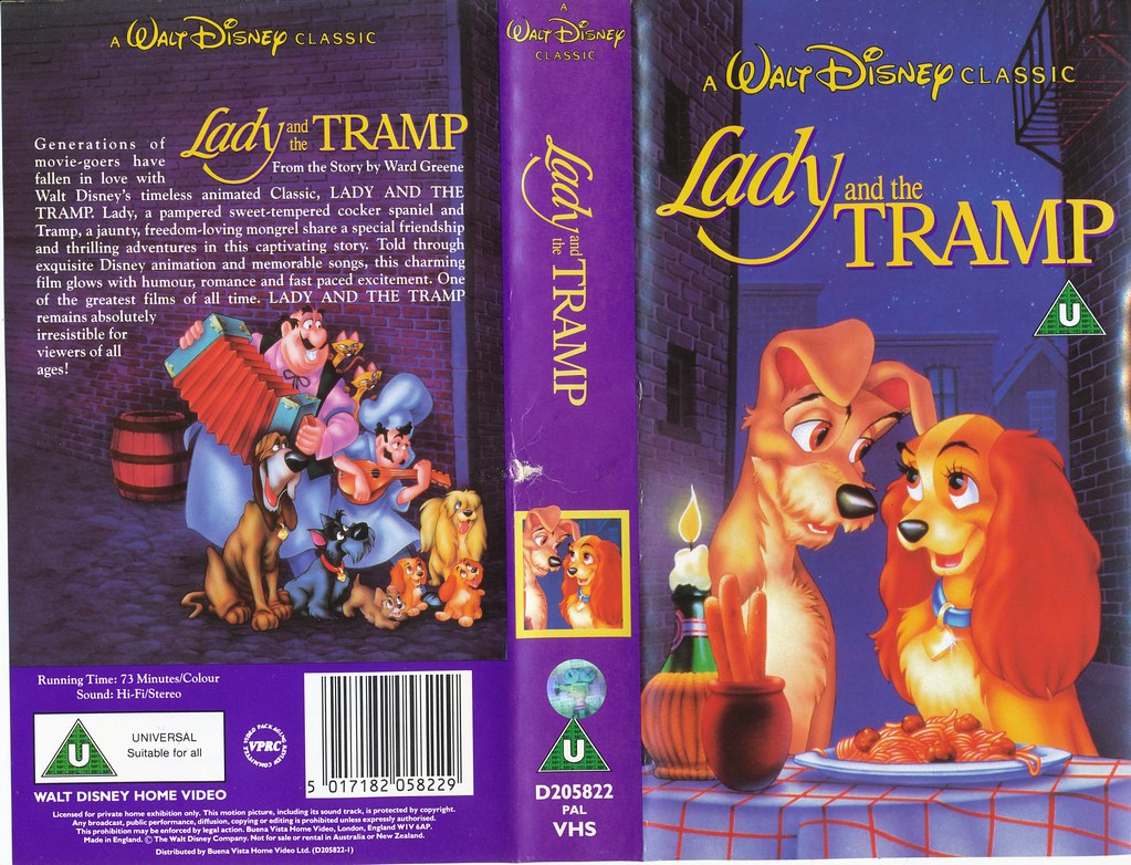 Lady and the Tramp UK VHS 1990 (front cover) | disneyjoe ...