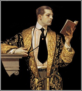 J.C. Leyendecker 'The Arrow Collar Man reading book' 1916 | by Plum leaves