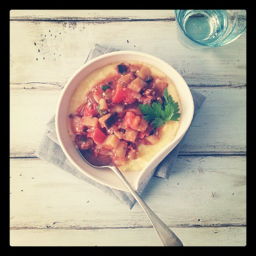 Lunch from photo shoot. Polenta and ratatouille. New bowl from @suiteonestudio . | by tartelette