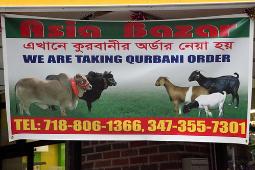 """We are taking qurbani order,"" Asia Bazar, Jackson Heights, Queens 
