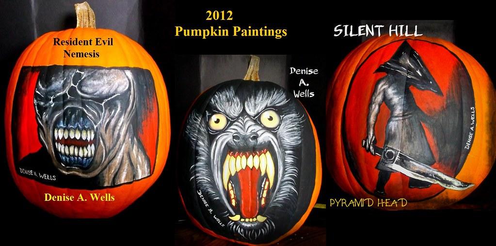 Pumpkin Paintings Nemesis, Werewolf, Silent Hill By Denise