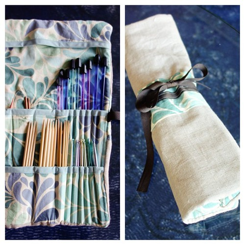 So proud! My first sewing project using leftovers—a knitting supply organizer. Useful and only cost $4.79 for thread and bias tape. | by Lex76