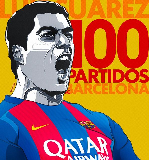 Luis Suárez: 100 partidos con el FC Barcelona