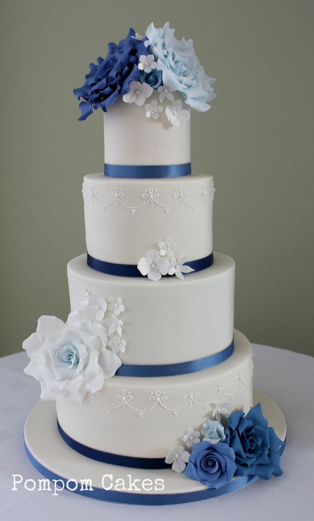 Ivory Wedding Cake With Blue Roses Delivered To Pembroke