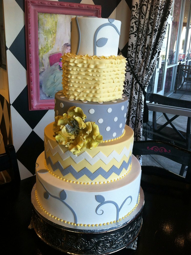 yellow and grey wedding cake april flickr