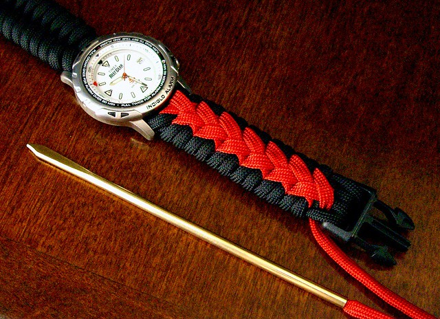 center stitched paracord watchband work in progress