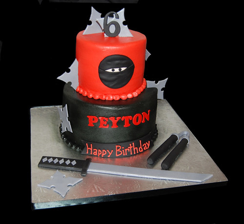 Ninja 6th birthday cake for a halloween costume party by sweet