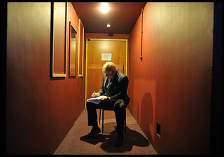Boris Johnson preparing his speech backstage | by conservativeparty
