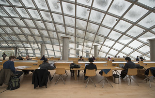 Students working under snow-dusted Mansueto Library dome | by University of Chicago Library
