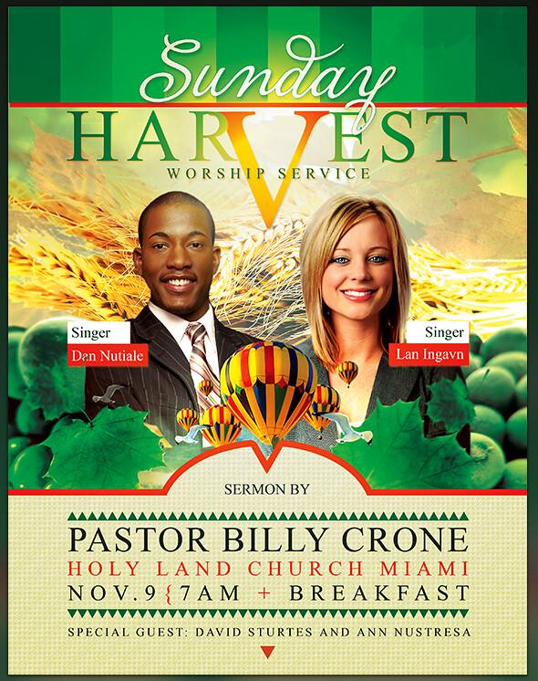 sunday harvest church flyer cd cover artwork template