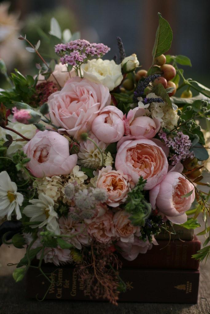 Organic Wedding Flowers Garden Roses Herbs Cosmos
