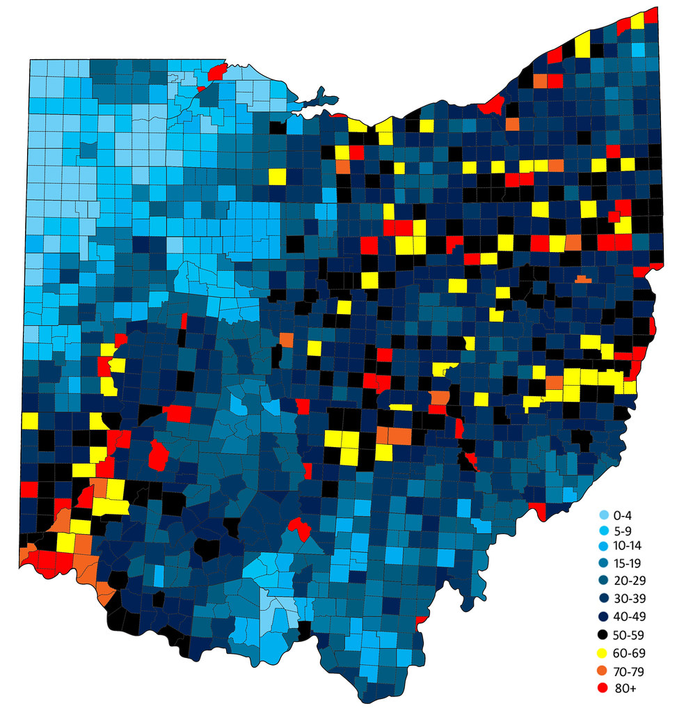 Population Density By Township 1840  Ohio  Data From