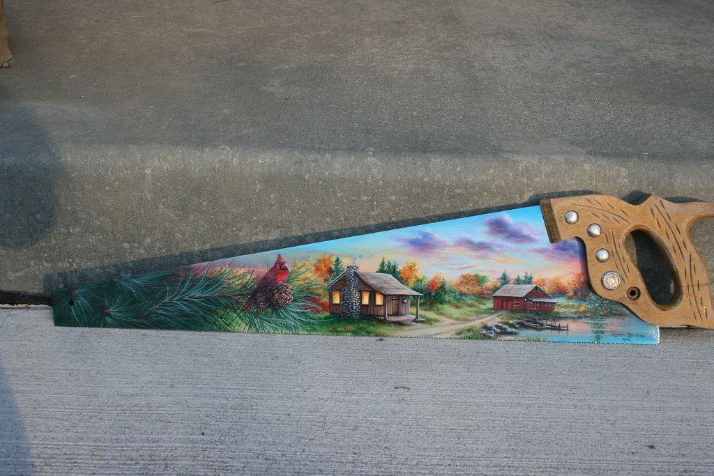 Antique Painted Hand Saw
