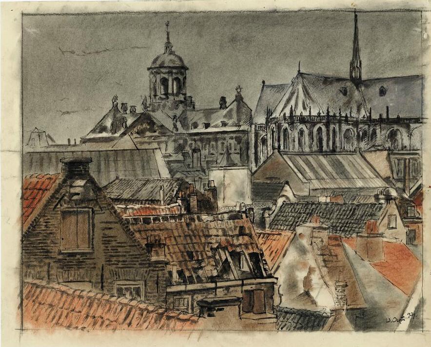 Vue sur les toits d'Amsterdam à défaut d'une photo du Café Pels d'Amsterdam.