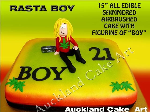 Rasta Boy 21st Cake Rasta Boy Large Airbrushed Shimmered
