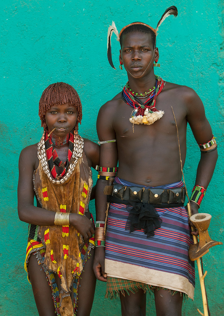 Maze Hamar Tribe Whipper And Girl, Turmi, Omo Valley, Ethi -6965