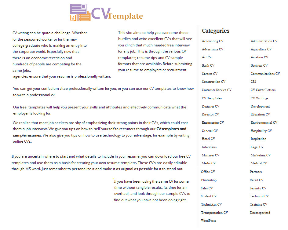cv template guide to writing a cv with lots of sample temp flickr