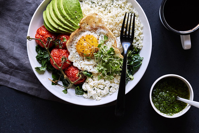 Savory Veggie Breakfast Bowls with Herb Olive Oil Drizzle {Paleo-friendly}