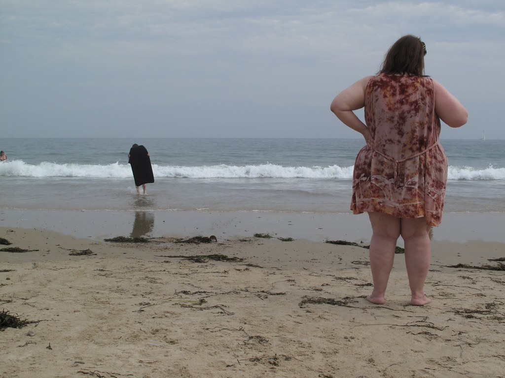Beach Fat lady on