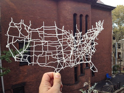 I laser cut a map of the interstate highway system. Handy for road trips! | by ranjit