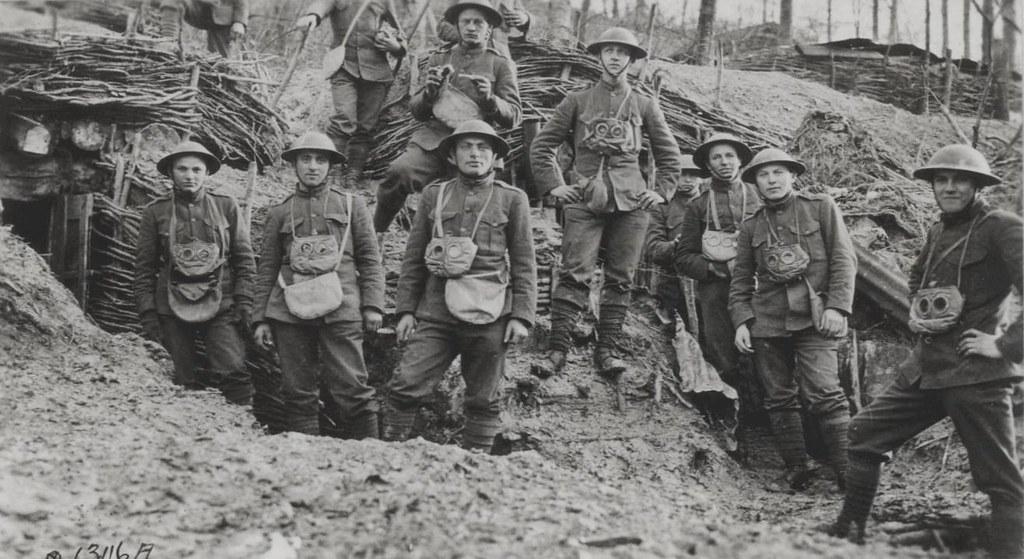 World War I Marines with Gas Masks, circa 1918 | World War ...